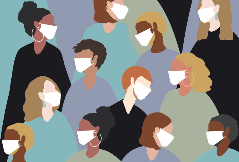 Illustration of numerous people wearing white mask